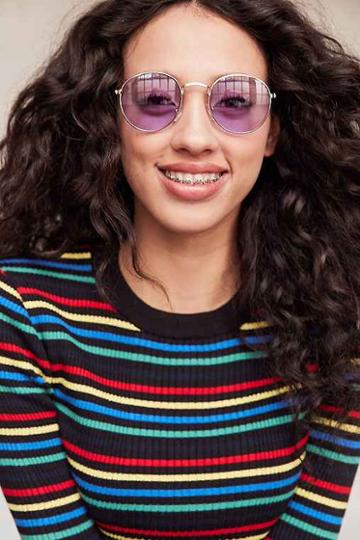 Urban Outfitters Daydream Metal Round Sunglasses,purple,one Size