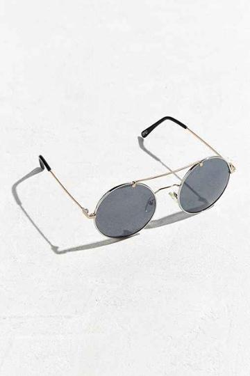 Urban Outfitters Metal Brow Round Sunglasses,silver,one Size