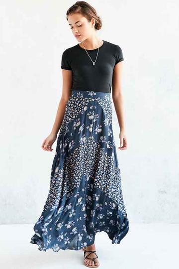 Urban Outfitters Kimchi Blue Mitered Floral Maxi Skirt,navy,10