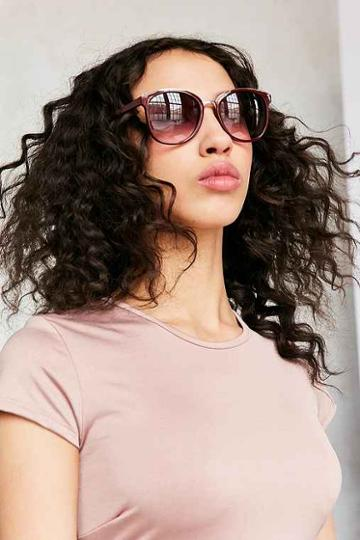 Urban Outfitters Caf Slim Square Sunglasses,maroon,one Size