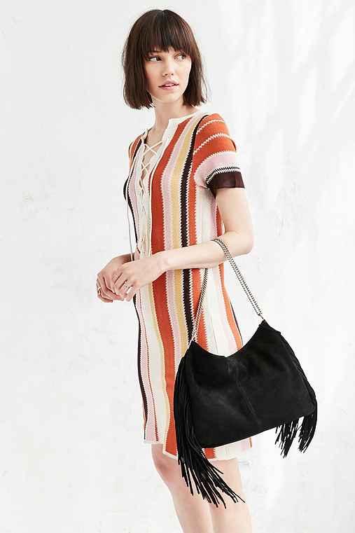 Urban Outfitters Ecote Suede Fringe Shoulder Bag,black,one Size