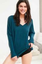Urban Outfitters Out From Under Oversized Cozy Thermal V-neck Top,teal,l