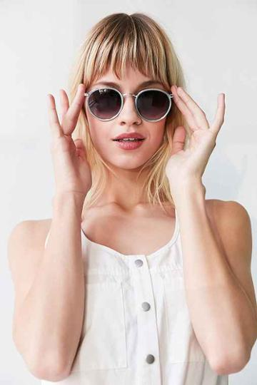 Urban Outfitters Charlie Metal Round Sunglasses,blue,one Size