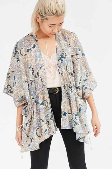 Urban Outfitters Kimchi Blue Shirred Kimono Jacket,paisley,m/l