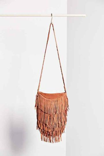 ecote Suede Layered Fringe Crossbody Bag,coral,one Size