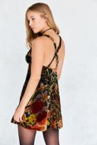 Ecote Floral Velvet Burnout Mini Slip Dress