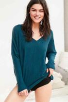 Urban Outfitters Out From Under Oversized Cozy Thermal V-neck Top,teal,m