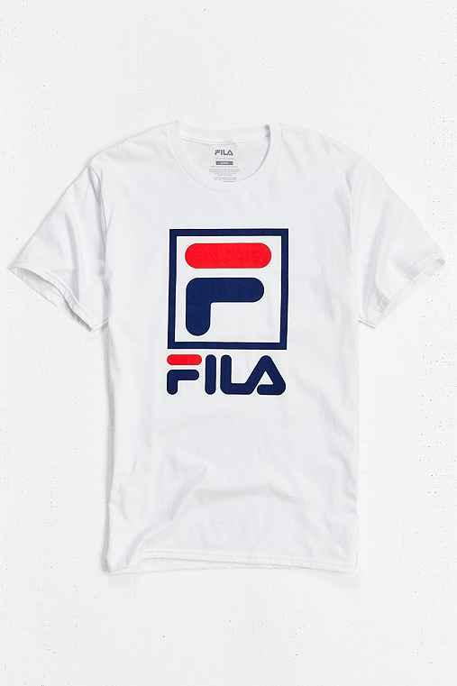 Urban Outfitters Fila Stacked Tee,white,m