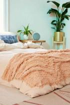 Urban Outfitters Rosa Eyelash Fringe Throw Blanket,cream,one Size
