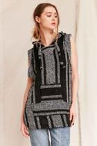 Urban Outfitters Urban Renewal Recycled Woven Sleeveless Hooded Top,black Multi,s/m