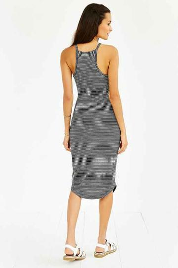 silence + Noise High-neck Knit Midi Dress,black & White,l