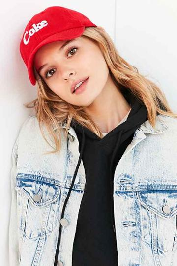 Urban Outfitters Coca-cola Baseball Hat,red,one Size