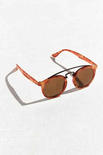 Urban Outfitters Brow Bar Round Sunglasses,brown,one Size
