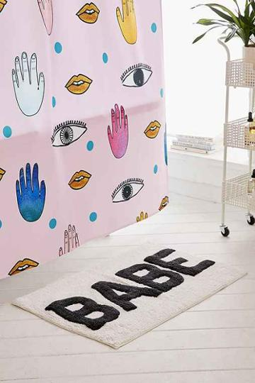 Urban Outfitters Babe Bath Mat,black & White,one Size
