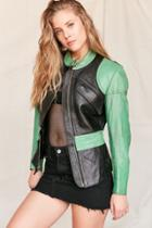 Urban Outfitters Vintage Colorblock Leather Moto Jacket