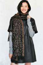 Urban Outfitters Leopard Blanket Scarf,brown,one Size