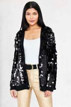 Urban Outfitters Silence + Noise Stassy Sequin Cardigan,black,one Size