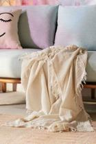 Urban Outfitters Maria Crinkle Throw Blanket,cream,one Size