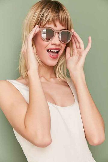 Urban Outfitters Painted Metal Round Sunglasses,beige,one Size
