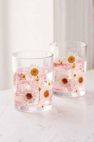 Urban Outfitters Pressed Daisy Glasses Set,white,one Size