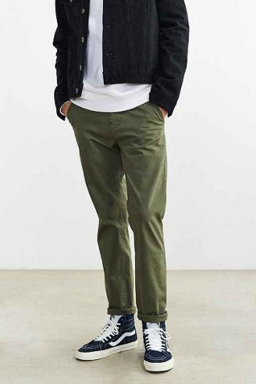 Urban Outfitters Hawkings Mcgill Stretch Skinny Chino Pant,olive,32/32