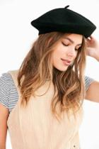 Urban Outfitters Wool Beret,black,one Size