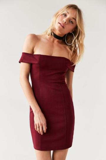 Urban Outfitters Silence + Noise Structured Off-the-shoulder Bodycon Mini Dress