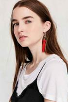 Urban Outfitters Yara Chain Tassel Statement Earring,red,one Size