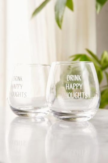 Urban Outfitters Drink Happy Stemless Glasses Set