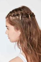 Urban Outfitters Regal Rose Faroe Feather Braid Ring Set,gold,one Size