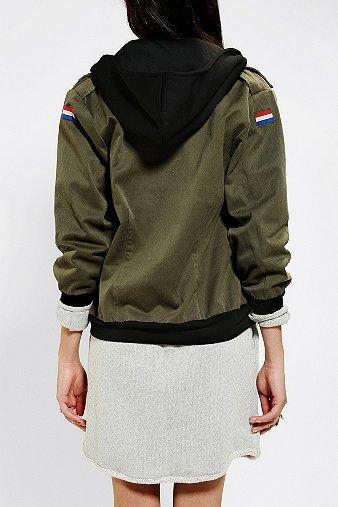 Urban Renewal Hooded Camo Bomber Jacket