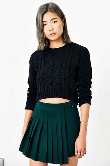 lucca Couture Cropped Sweater,black,s