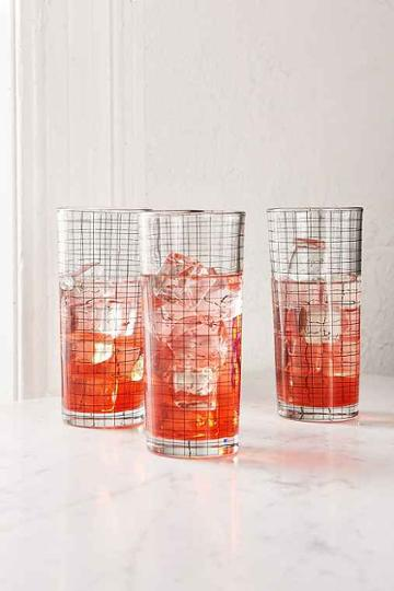 Urban Outfitters Grid Glasses Set,black,one Size