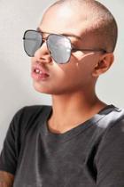 Urban Outfitters Quay X Desi Perkins High Key Aviator Sunglasses,black,one Size