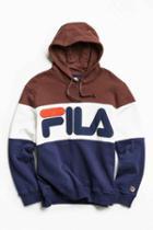 Urban Outfitters Fila Colorblocked Hoodie Sweatshirt,brown,m