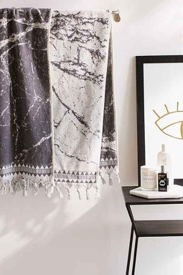 Urban Outfitters Marble Reversible Bath Towel,grey,one Size