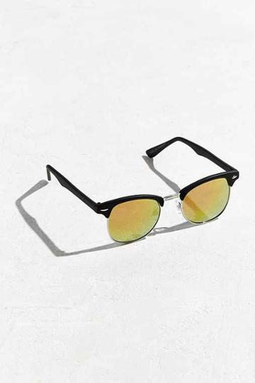 Urban Outfitters Classic Half-frame Mirrored Sunglasses,black,one Size