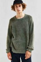 Urban Outfitters Uo Modern Washed Crew Neck Sweater,olive,m