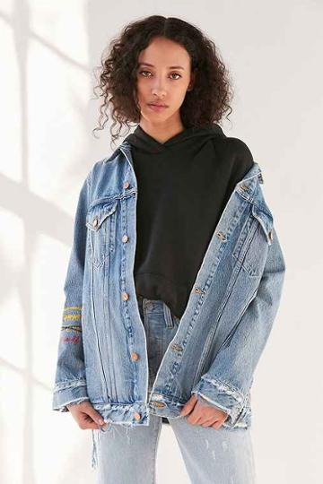 Urban Outfitters Agolde X Uo Devin Distressed Denim Jacket,light Blue,m