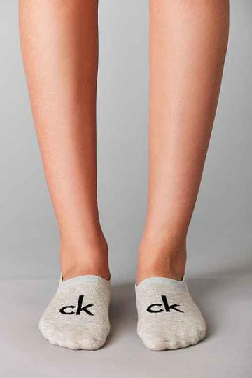 Urban Outfitters Calvin Klein Modern Cotton Logo Liner Sock,grey,one Size