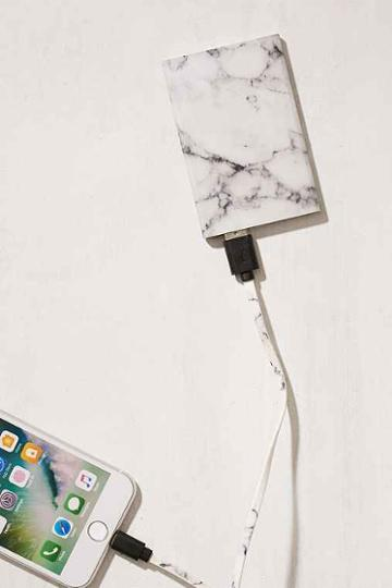 Urban Outfitters Slim Marble Portable Power Charger,blue,one Size