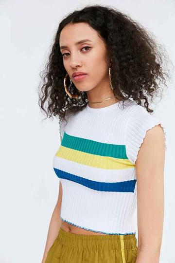 Urban Outfitters Bdg Rainbow Cropped Sweater Tee,cream Multi,s