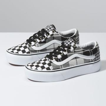 Vans Plaid Checkerboard Old Skool Platform (black/true White)