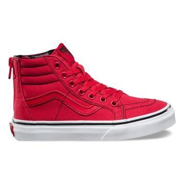 Vans Kids Contrast Stitch Sk8-hi Zip (roccocco Red/true White)