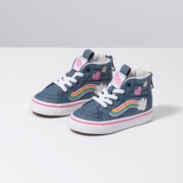 Vans Toddler Rainbow Sidestripe Sk8-hi Zip (denim/true White)