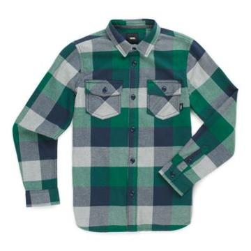 Vans Boys Box Flannel Shirt (evergreen/grey Heather)