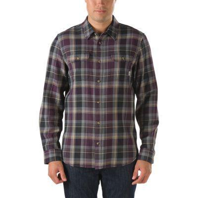 Vans Elm Plaid Buttondown Shirt (deep Purple) Mens T-shirts