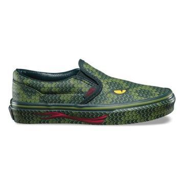 Vans Kids Poison Slip-on (reptile/green Lizard)