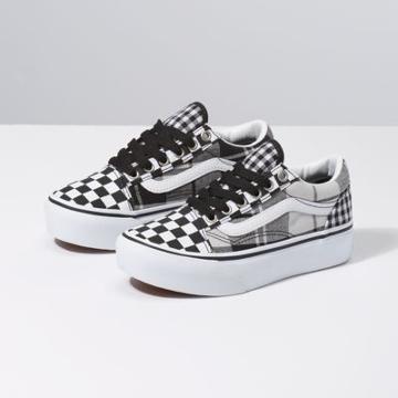 Vans Kids Plaid Checkerboard Old Skool Platform (black/true White)