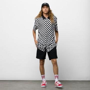 Vans Checker Camp Short Sleeve Buttondown Shirt (white/black)